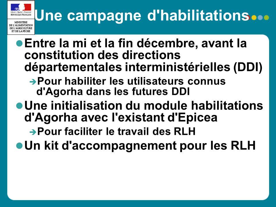 Une campagne d'habilitations Entre la mi et la fin décembre, avant la constitution des directions départementales interministérielles (DDI) Pour habil