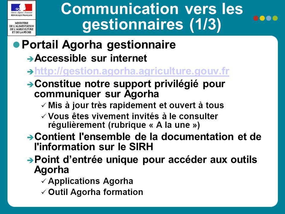 Communication vers les gestionnaires (1/3) Portail Agorha gestionnaire Accessible sur internet http://gestion.agorha.agriculture.gouv.fr Constitue not