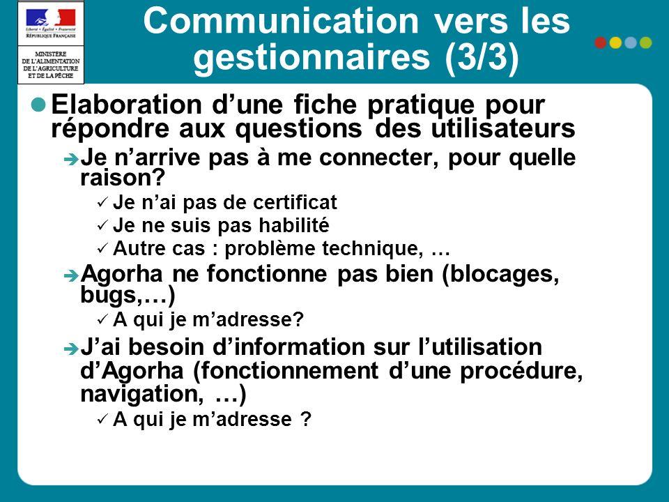 Communication vers les gestionnaires (3/3) Elaboration dune fiche pratique pour répondre aux questions des utilisateurs Je narrive pas à me connecter, pour quelle raison.