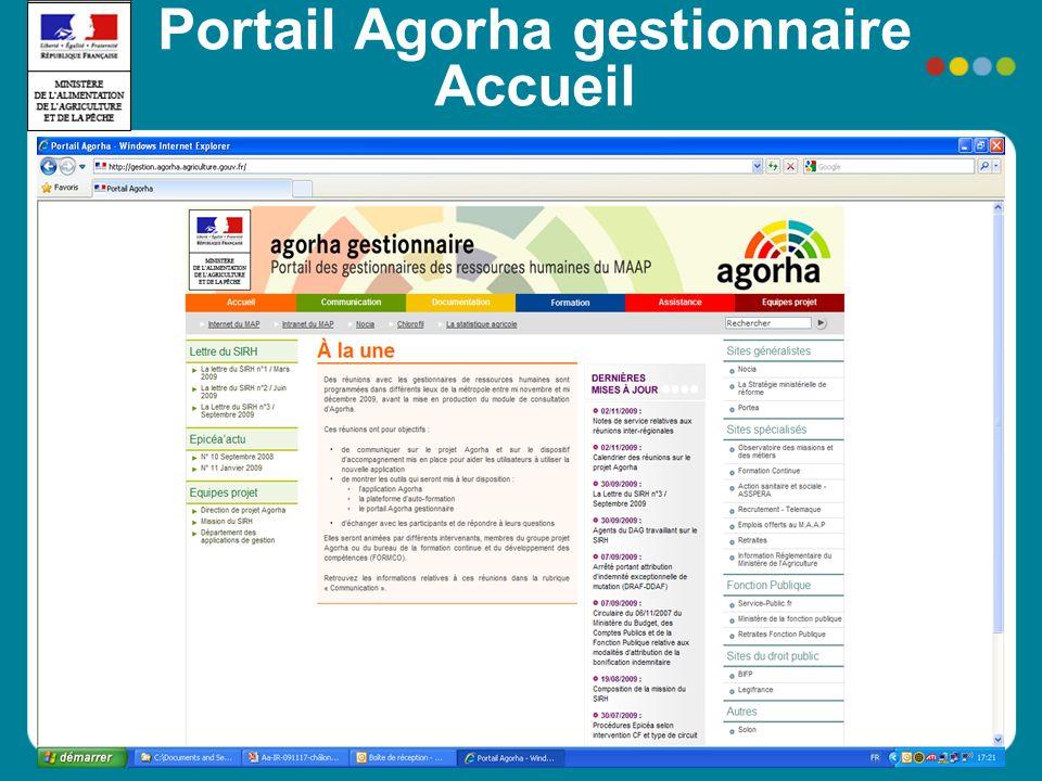 Portail Agorha gestionnaire Accueil