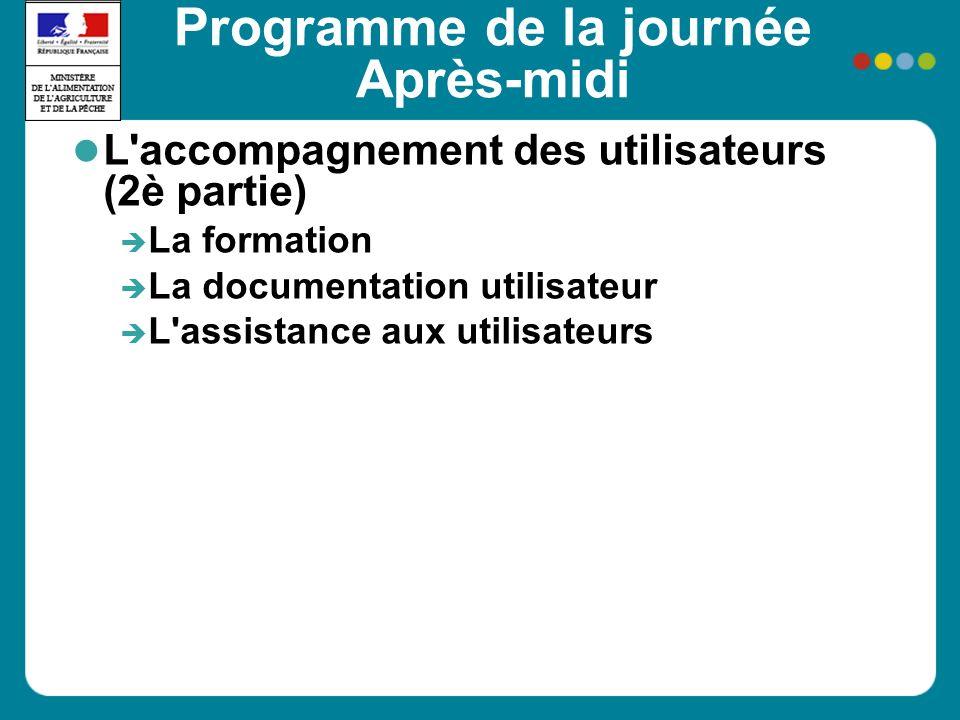 Programme de la journée Après-midi L'accompagnement des utilisateurs (2è partie) La formation La documentation utilisateur L'assistance aux utilisateu