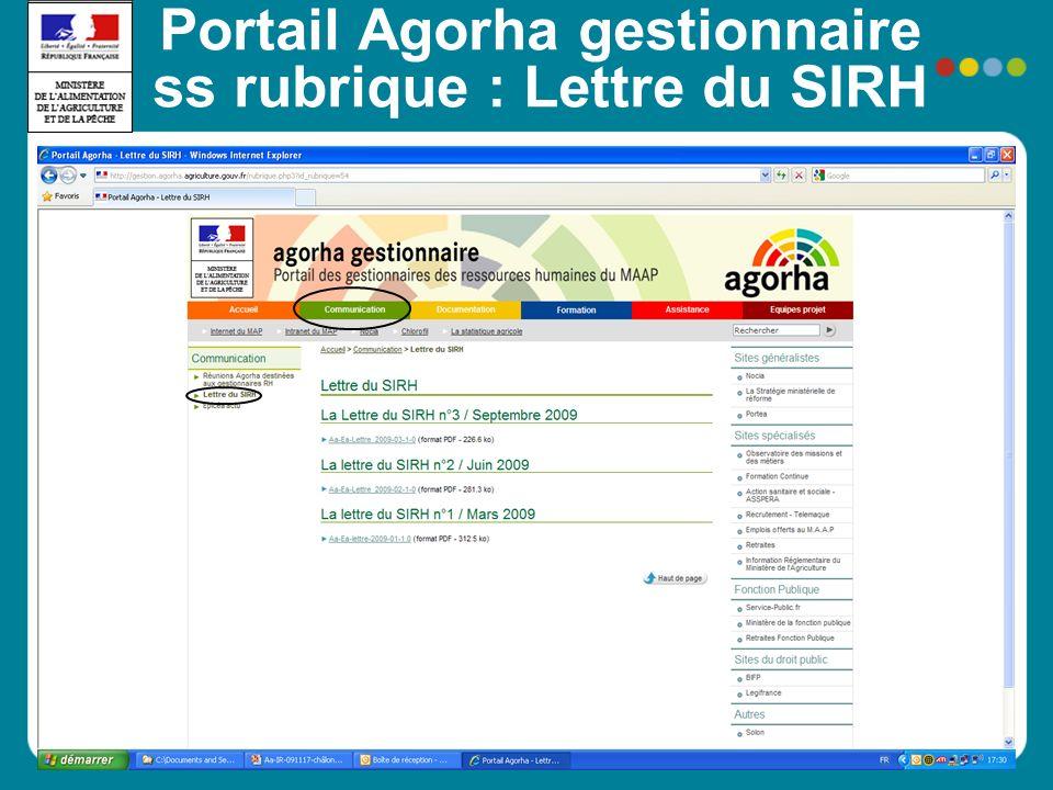 Portail Agorha gestionnaire ss rubrique : Lettre du SIRH