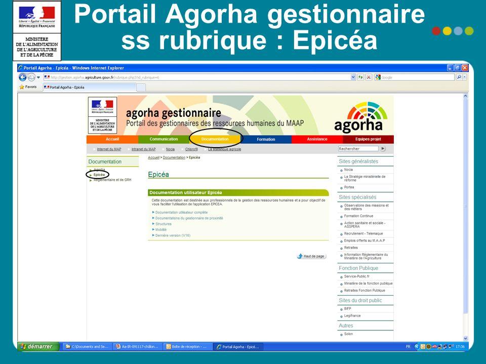 Portail Agorha gestionnaire ss rubrique : Epicéa