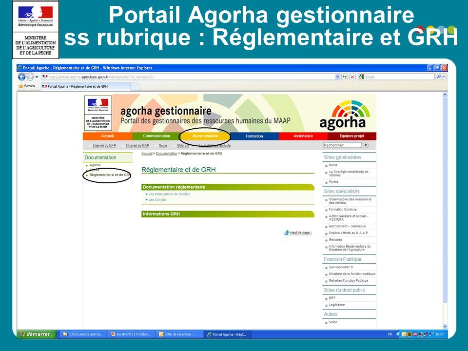 Portail Agorha gestionnaire ss rubrique : Réglementaire et GRH