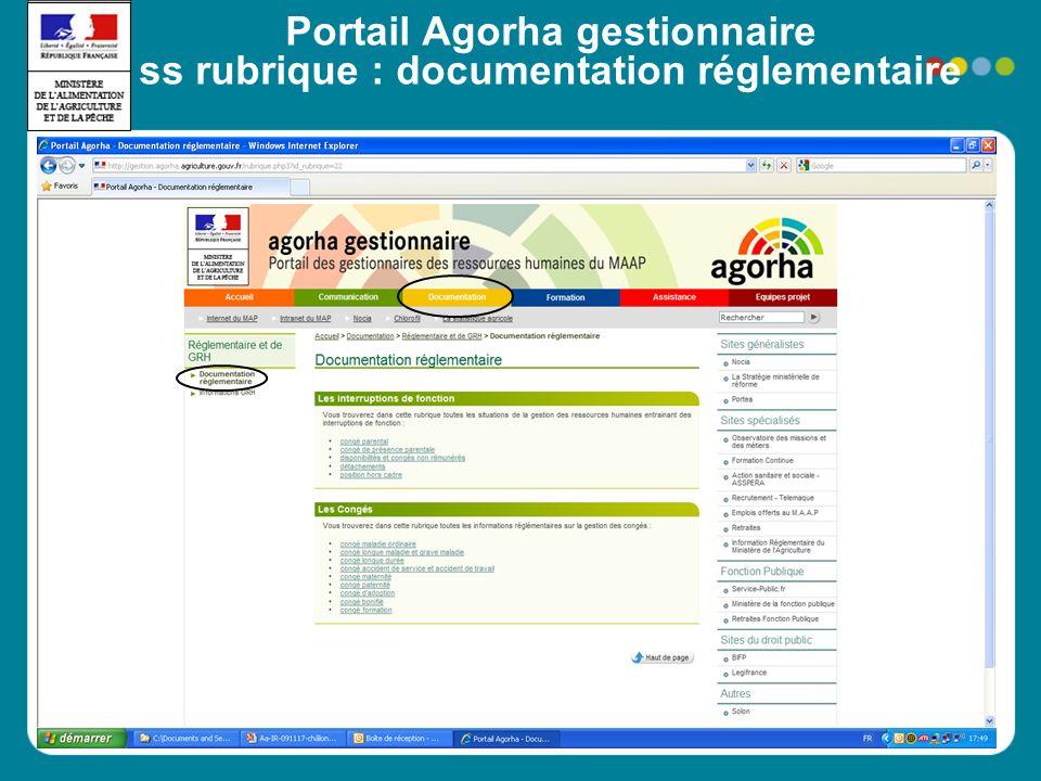 Portail Agorha gestionnaire ss rubrique : documentation réglementaire