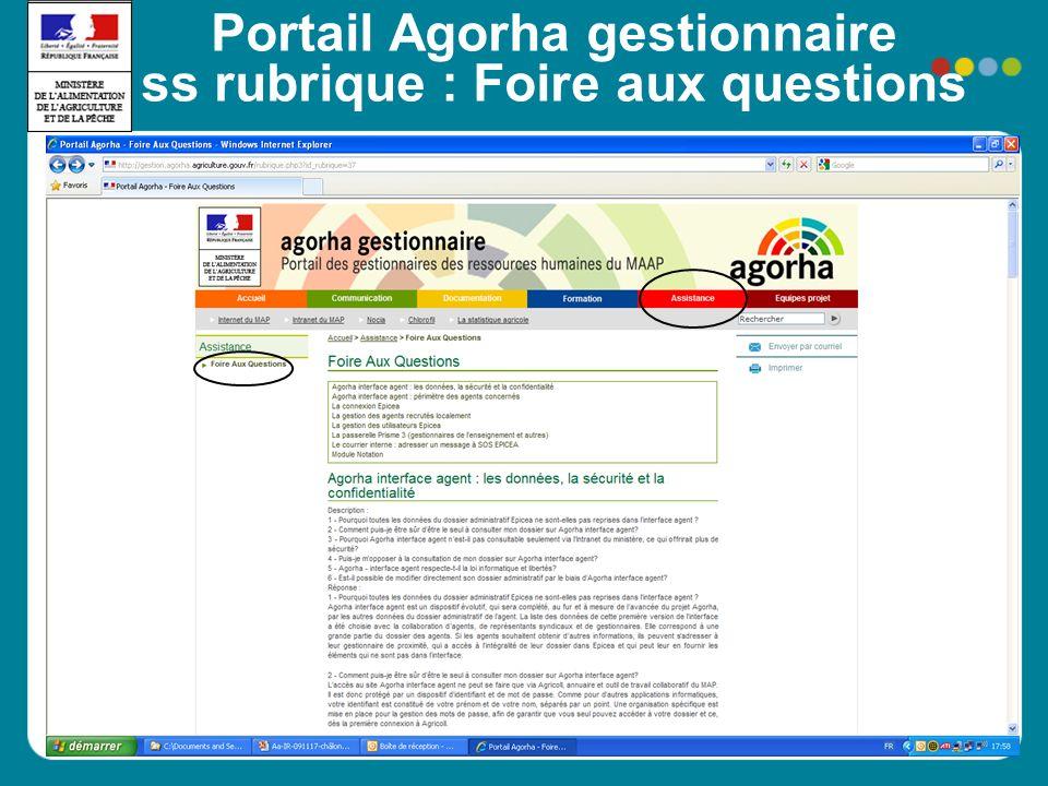 Portail Agorha gestionnaire ss rubrique : Foire aux questions