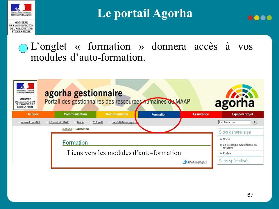 67 Longlet « formation » donnera accès à vos modules dauto-formation. Liens vers les modules dauto-formation Le portail Agorha