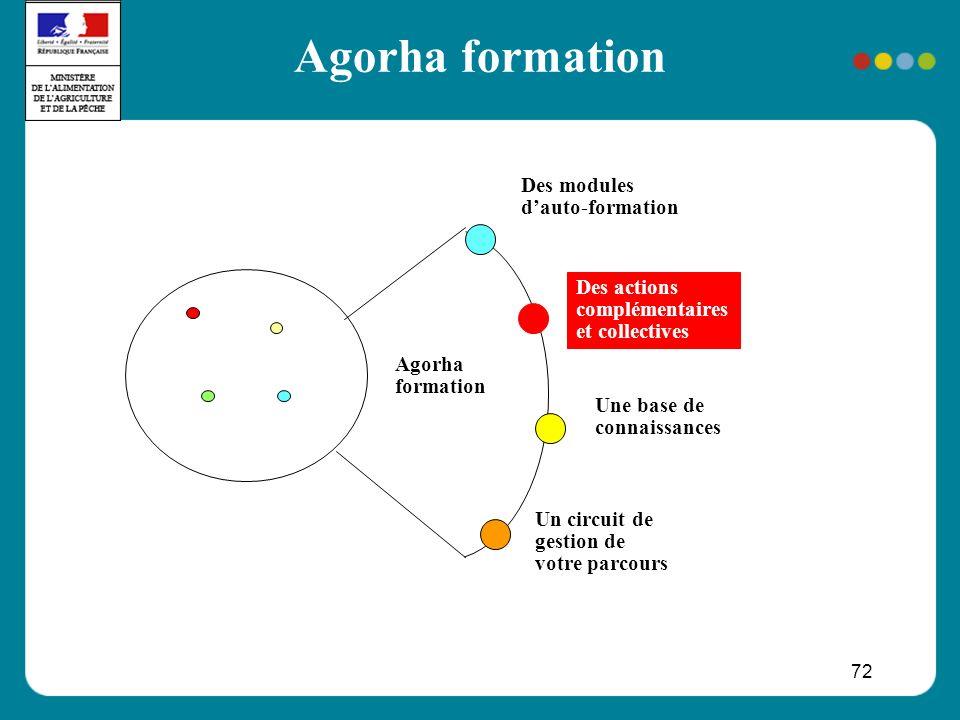 72 Agorha formation Des modules dauto-formation Une base de connaissances Un circuit de gestion de votre parcours Agorha formation Des actions complémentaires et collectives