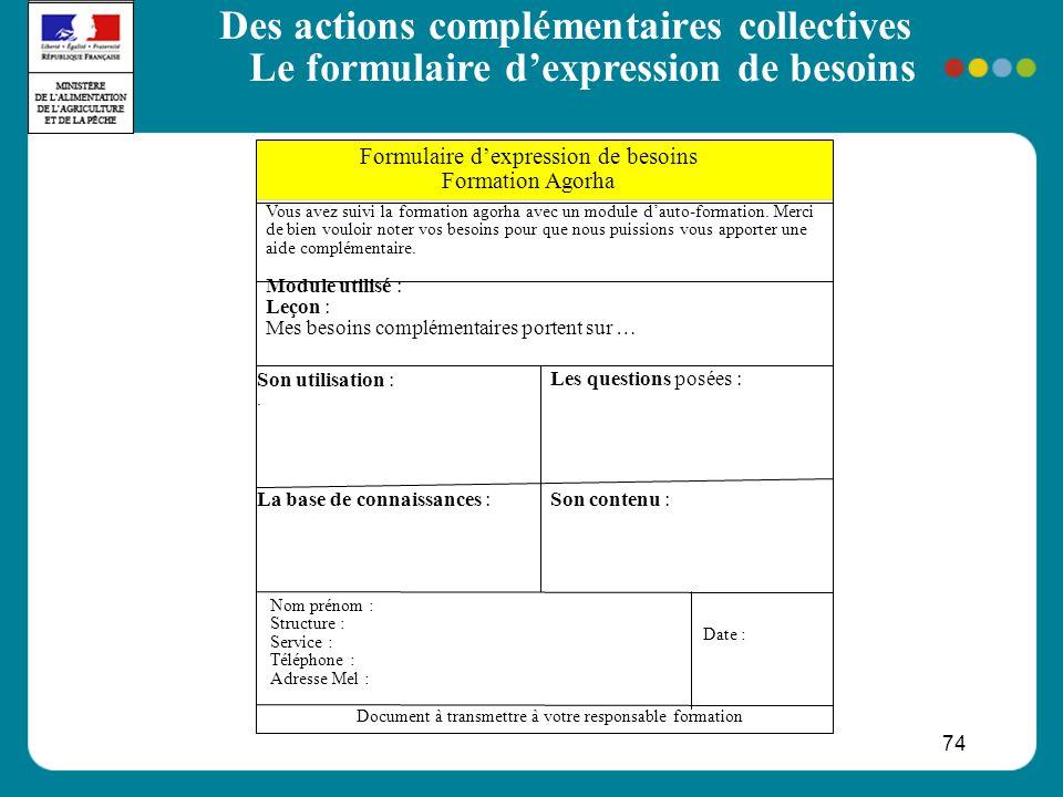 74 Des actions complémentaires collectives Le formulaire dexpression de besoins Formulaire dexpression de besoins Formation Agorha Date : Vous avez su