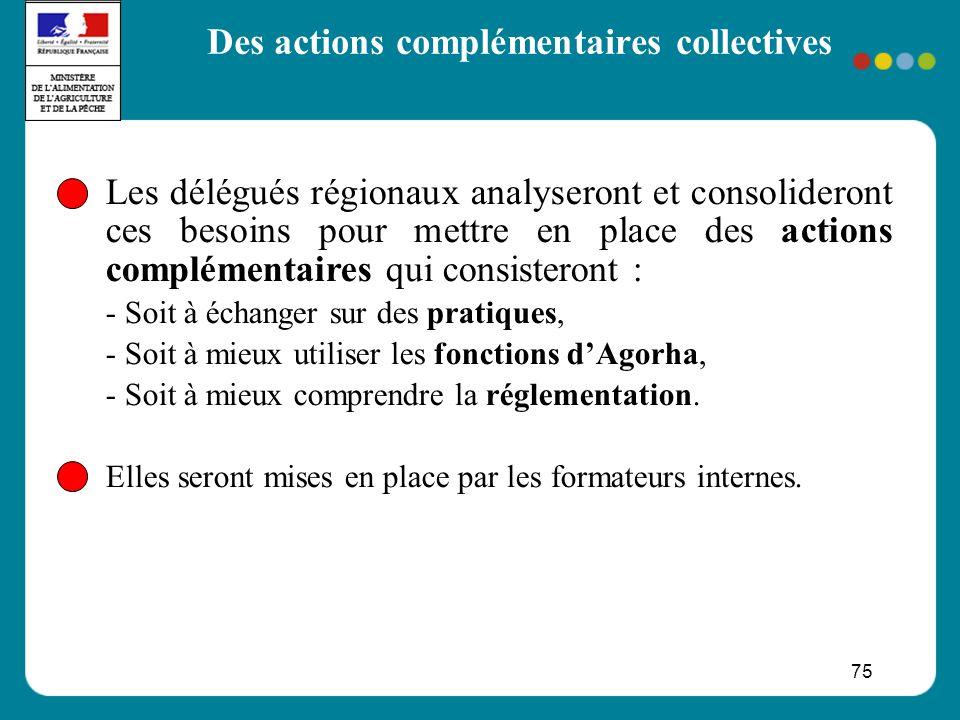 75 Les délégués régionaux analyseront et consolideront ces besoins pour mettre en place des actions complémentaires qui consisteront : - Soit à échanger sur des pratiques, - Soit à mieux utiliser les fonctions dAgorha, - Soit à mieux comprendre la réglementation.