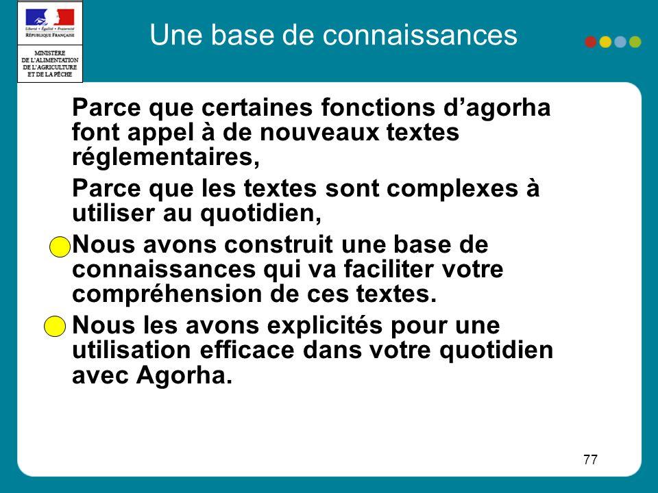 77 Parce que certaines fonctions dagorha font appel à de nouveaux textes réglementaires, Parce que les textes sont complexes à utiliser au quotidien, Nous avons construit une base de connaissances qui va faciliter votre compréhension de ces textes.