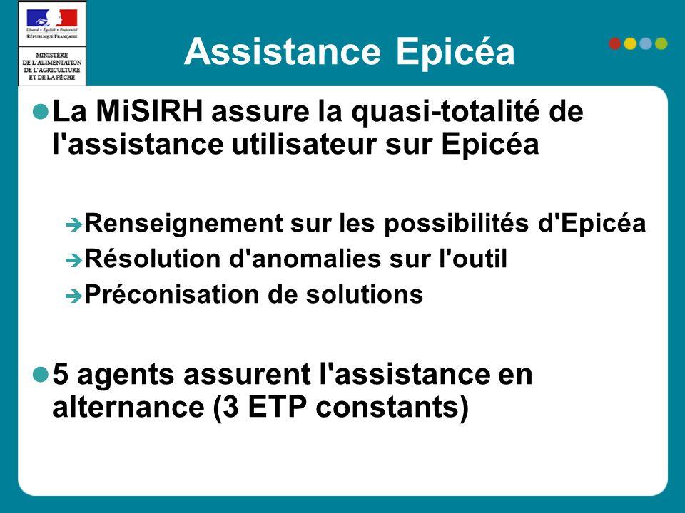Assistance Epicéa La MiSIRH assure la quasi-totalité de l assistance utilisateur sur Epicéa Renseignement sur les possibilités d Epicéa Résolution d anomalies sur l outil Préconisation de solutions 5 agents assurent l assistance en alternance (3 ETP constants)