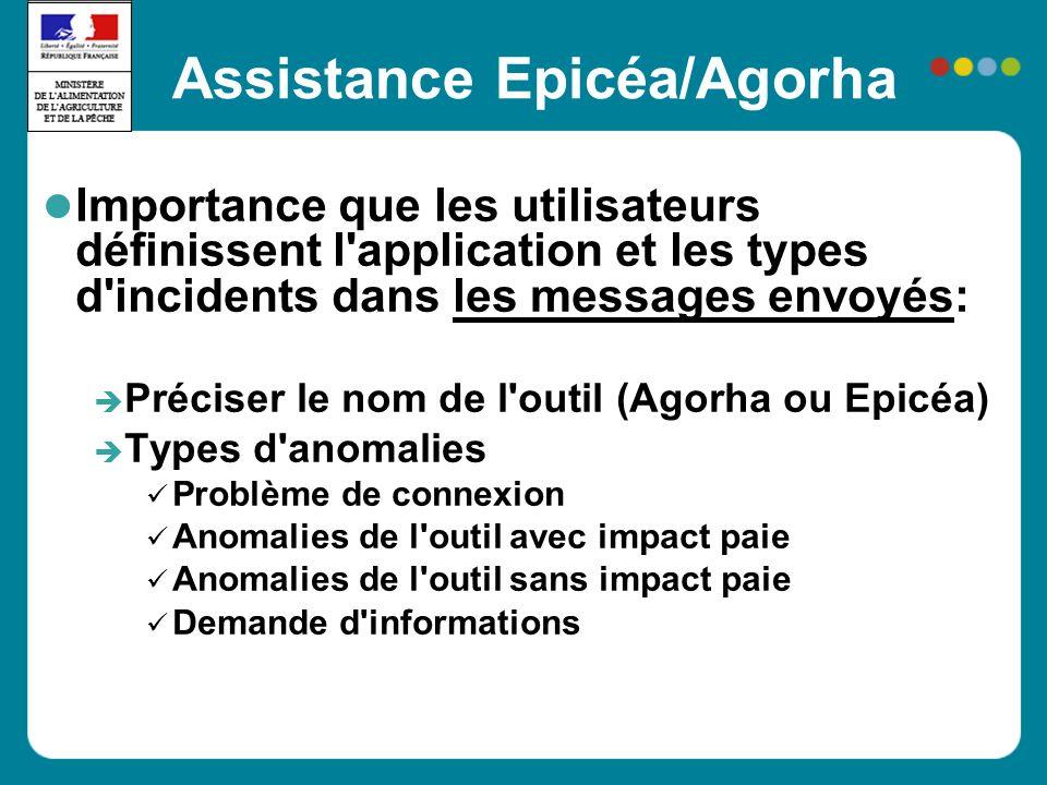 Assistance Epicéa/Agorha Importance que les utilisateurs définissent l'application et les types d'incidents dans les messages envoyés: Préciser le nom