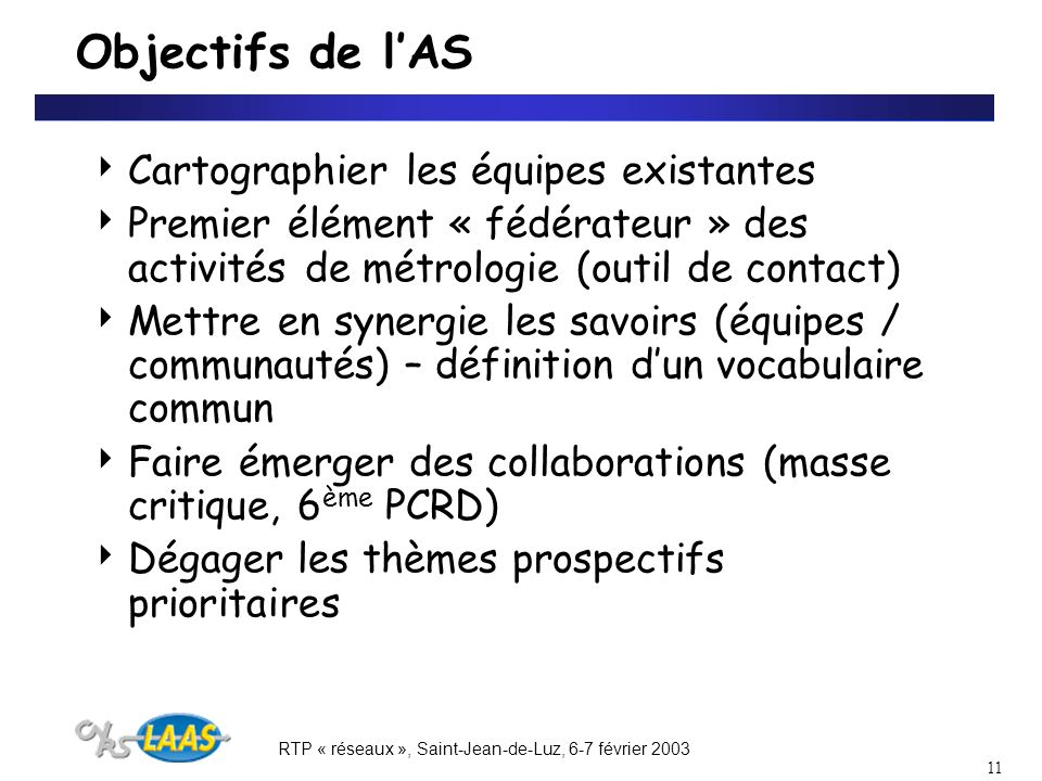 RTP « réseaux », Saint-Jean-de-Luz, 6-7 février 2003 11 Objectifs de lAS Cartographier les équipes existantes Premier élément « fédérateur » des activités de métrologie (outil de contact) Mettre en synergie les savoirs (équipes / communautés) – définition dun vocabulaire commun Faire émerger des collaborations (masse critique, 6 ème PCRD) Dégager les thèmes prospectifs prioritaires