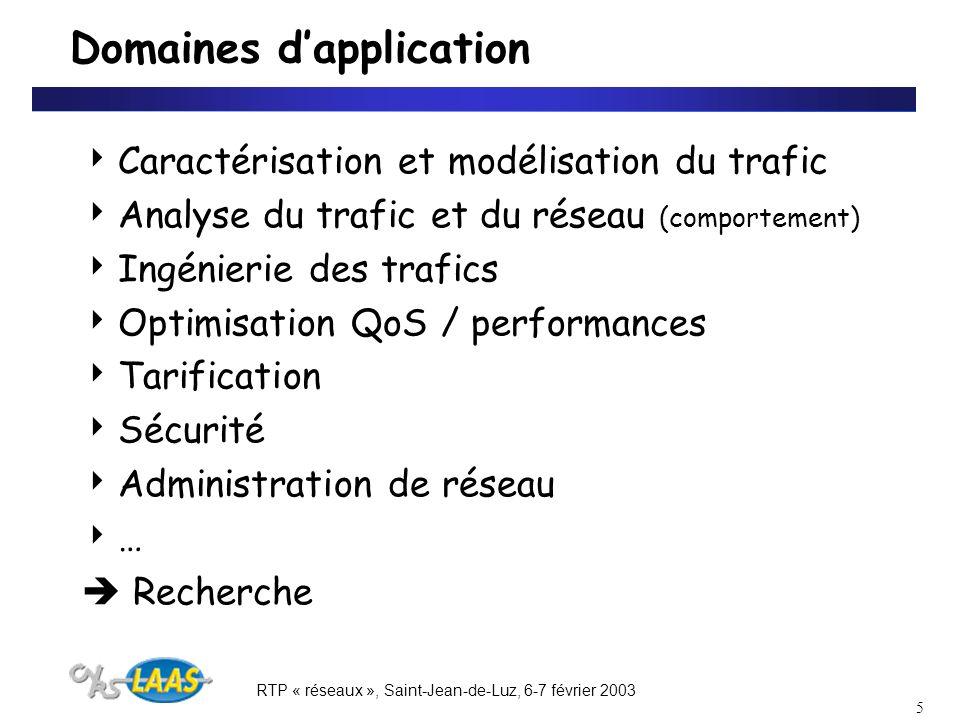 RTP « réseaux », Saint-Jean-de-Luz, 6-7 février 2003 5 Domaines dapplication Caractérisation et modélisation du trafic Analyse du trafic et du réseau (comportement) Ingénierie des trafics Optimisation QoS / performances Tarification Sécurité Administration de réseau … Recherche