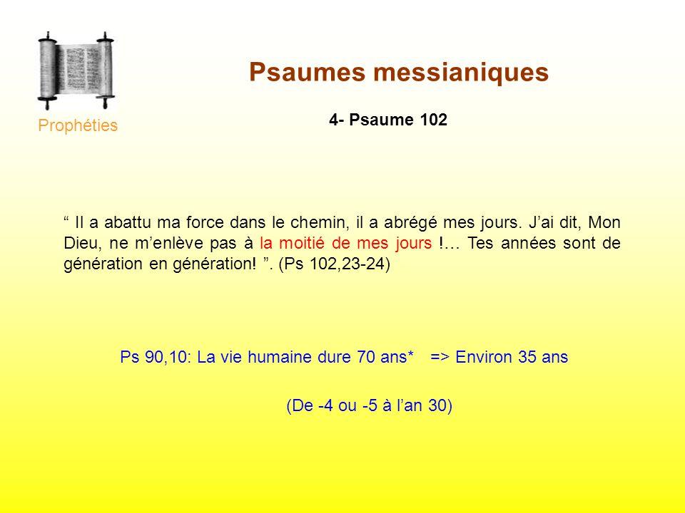 4- Psaume 102 Il a abattu ma force dans le chemin, il a abrégé mes jours. Jai dit, Mon Dieu, ne menlève pas à la moitié de mes jours !… Tes années son