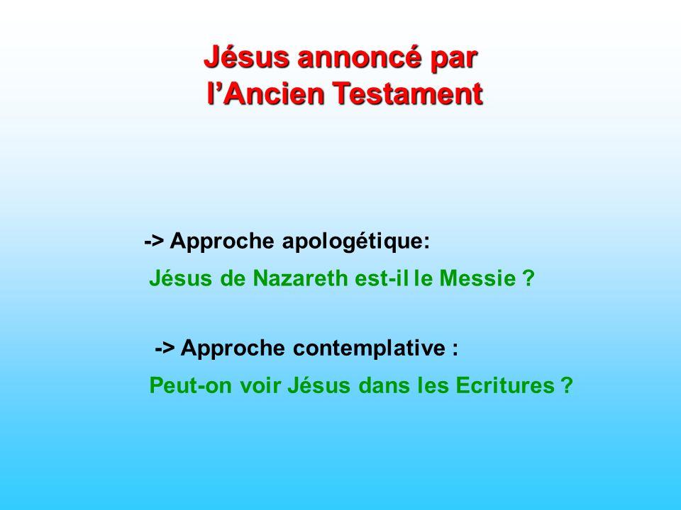 -> Approche apologétique: Jésus annoncé par lAncien Testament Jésus de Nazareth est-il le Messie ? -> Approche contemplative : Peut-on voir Jésus dans
