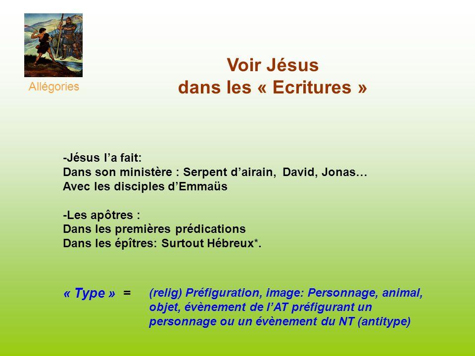 Voir Jésus dans les « Ecritures » -Jésus la fait: Dans son ministère : Serpent dairain, David, Jonas… Avec les disciples dEmmaüs -Les apôtres : Dans l