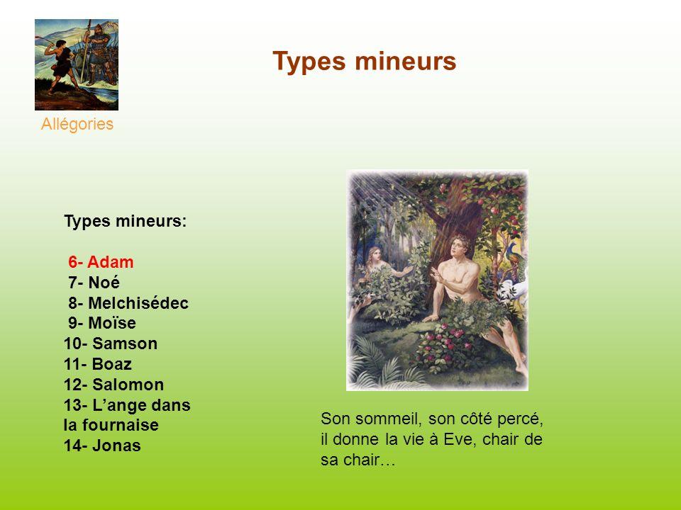 Types mineurs Allégories Types mineurs: 6- Adam 7- Noé 8- Melchisédec 9- Moïse 10- Samson 11- Boaz 12- Salomon 13- Lange dans la fournaise 14- Jonas S