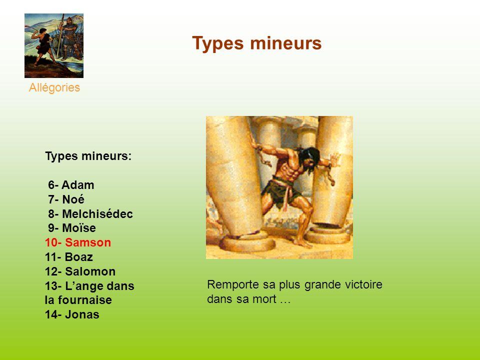 Types mineurs Allégories Types mineurs: 6- Adam 7- Noé 8- Melchisédec 9- Moïse 10- Samson 11- Boaz 12- Salomon 13- Lange dans la fournaise 14- Jonas R