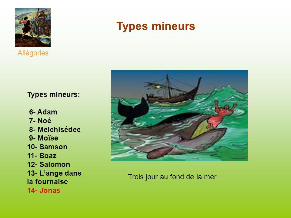 Types mineurs Allégories Types mineurs: 6- Adam 7- Noé 8- Melchisédec 9- Moïse 10- Samson 11- Boaz 12- Salomon 13- Lange dans la fournaise 14- Jonas T