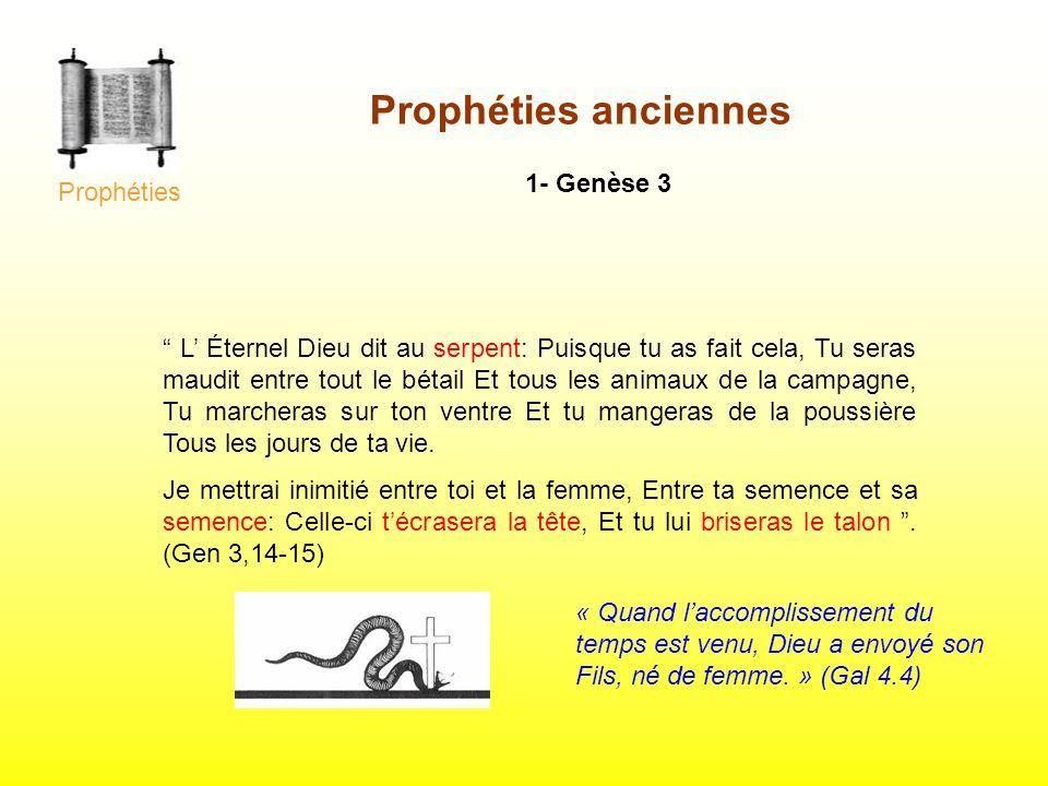 Prophéties anciennes 1- Genèse 3 L Éternel Dieu dit au serpent: Puisque tu as fait cela, Tu seras maudit entre tout le bétail Et tous les animaux de l