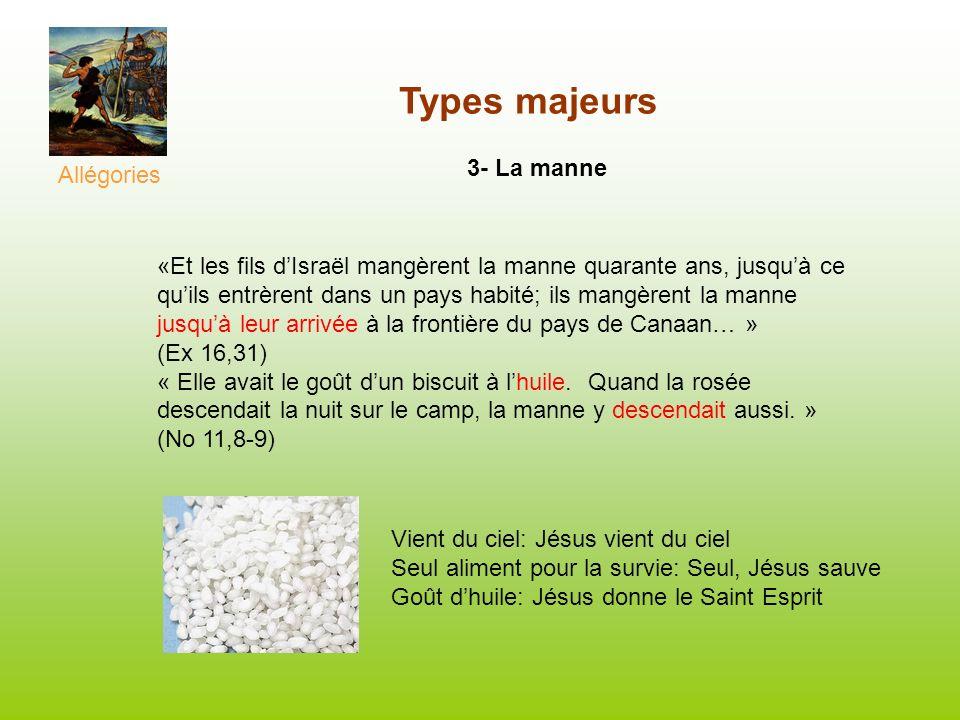 Types majeurs 3- La manne «Et les fils dIsraël mangèrent la manne quarante ans, jusquà ce quils entrèrent dans un pays habité; ils mangèrent la manne