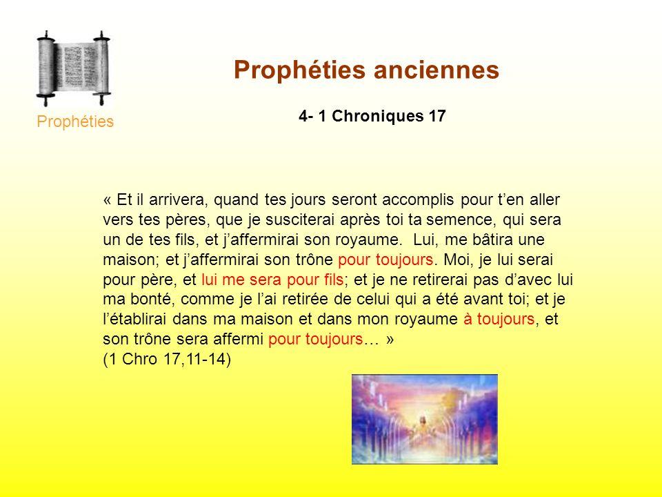Prophéties anciennes 4- 1 Chroniques 17 « Et il arrivera, quand tes jours seront accomplis pour ten aller vers tes pères, que je susciterai après toi