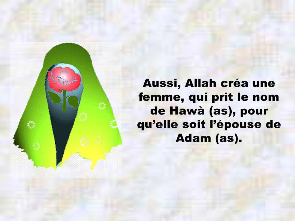 Aussi, Allah créa une femme, qui prit le nom de Hawà (as), pour quelle soit lépouse de Adam (as).