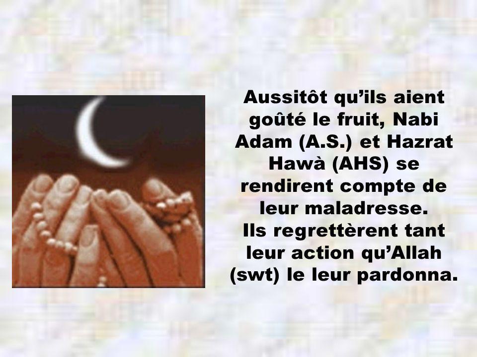 Aussitôt quils aient goûté le fruit, Nabi Adam (A.S.) et Hazrat Hawà (AHS) se rendirent compte de leur maladresse.