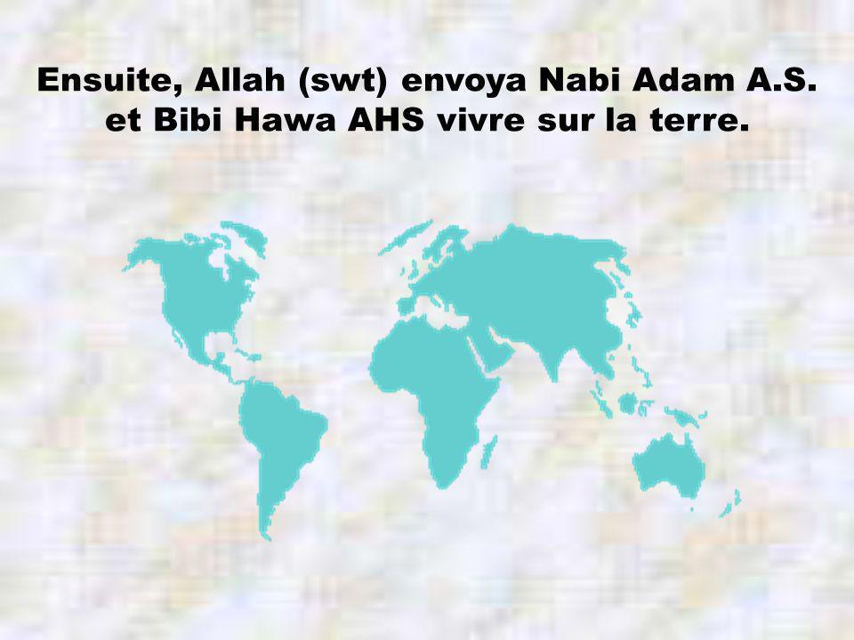Ensuite, Allah (swt) envoya Nabi Adam A.S. et Bibi Hawa AHS vivre sur la terre.
