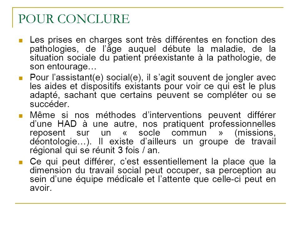 POUR CONCLURE Les prises en charges sont très différentes en fonction des pathologies, de lâge auquel débute la maladie, de la situation sociale du pa