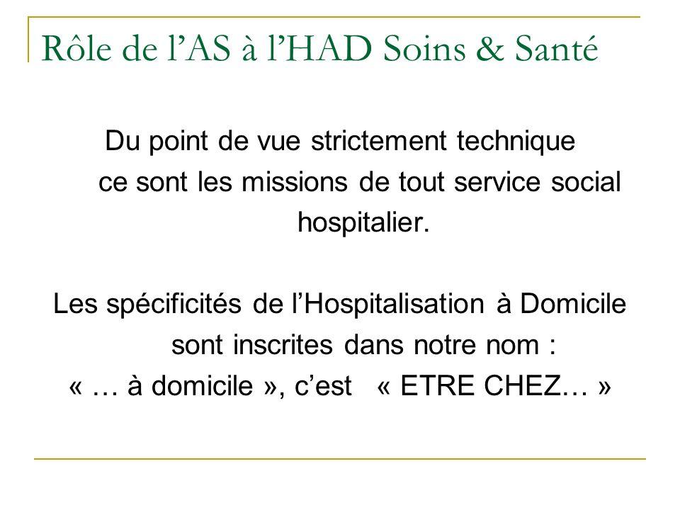 Rôle de lAS à lHAD Soins & Santé Du point de vue strictement technique ce sont les missions de tout service social hospitalier. Les spécificités de lH