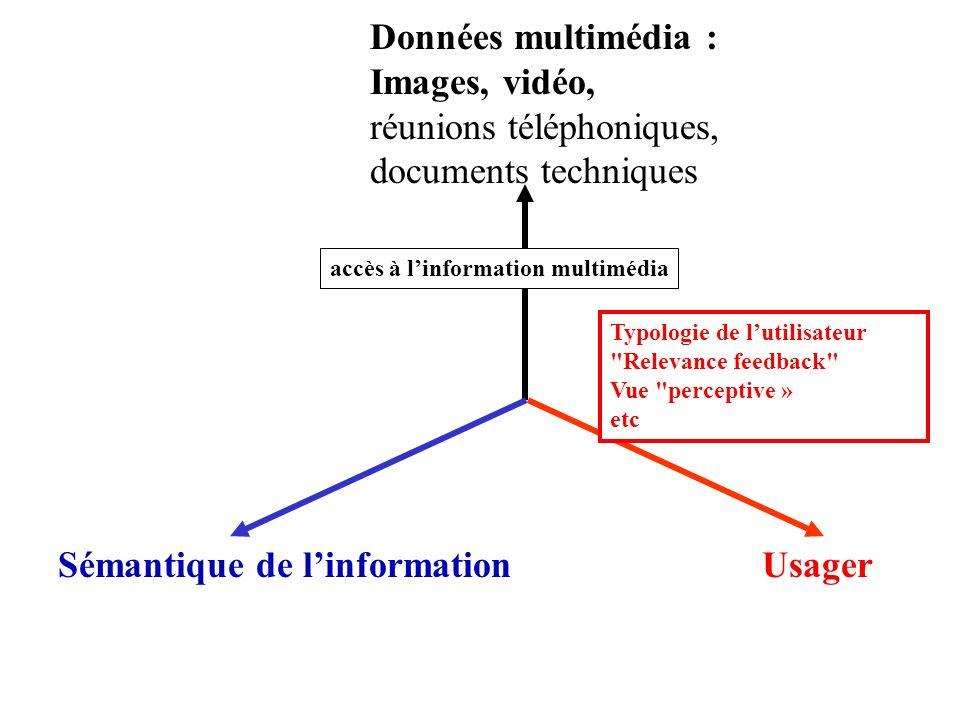 Données multimédia : Images, vidéo, réunions téléphoniques, documents techniques UsagerSémantique de linformation accès à linformation multimédia Typo