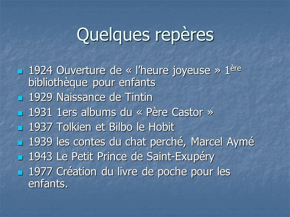 Quelques repères 1924 Ouverture de « lheure joyeuse » 1 ère bibliothèque pour enfants 1924 Ouverture de « lheure joyeuse » 1 ère bibliothèque pour enf
