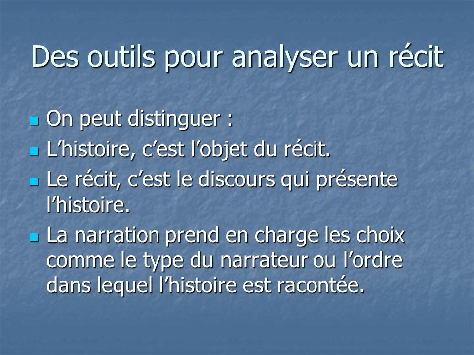 Des outils pour analyser un récit On peut distinguer : On peut distinguer : Lhistoire, cest lobjet du récit. Lhistoire, cest lobjet du récit. Le récit