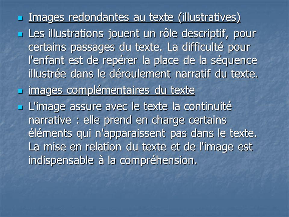 Images redondantes au texte (illustratives) Images redondantes au texte (illustratives) Les illustrations jouent un rôle descriptif, pour certains pas