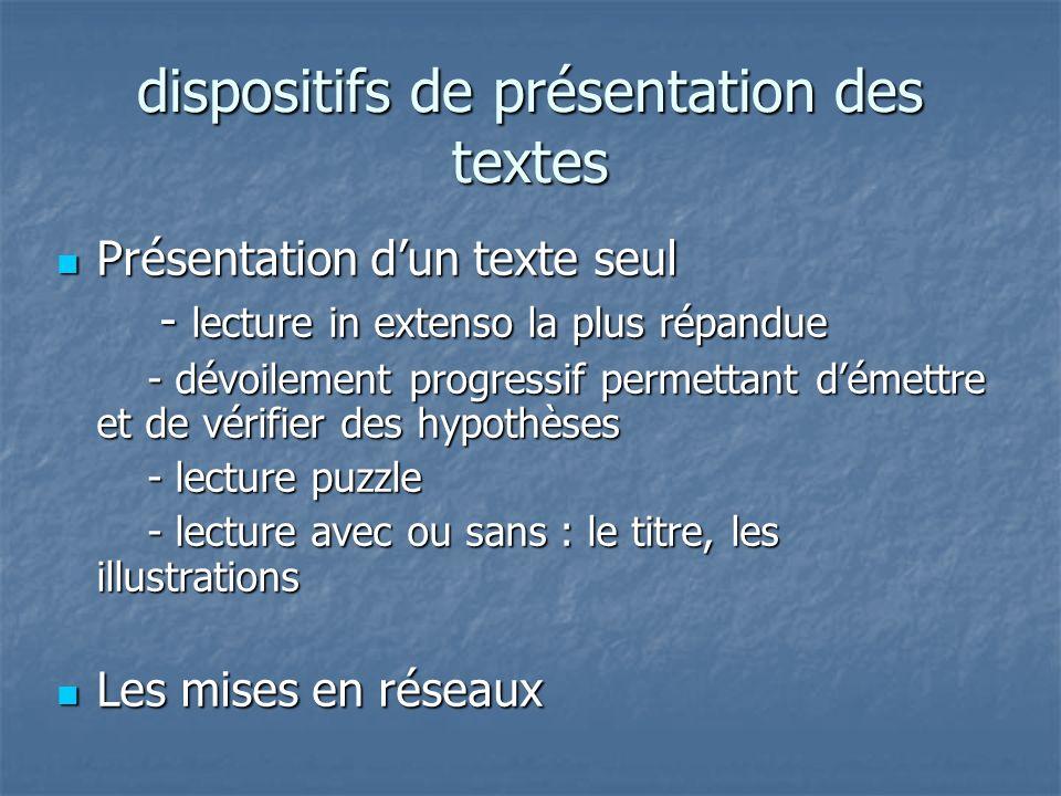 dispositifs de présentation des textes Présentation dun texte seul Présentation dun texte seul - lecture in extenso la plus répandue - lecture in exte