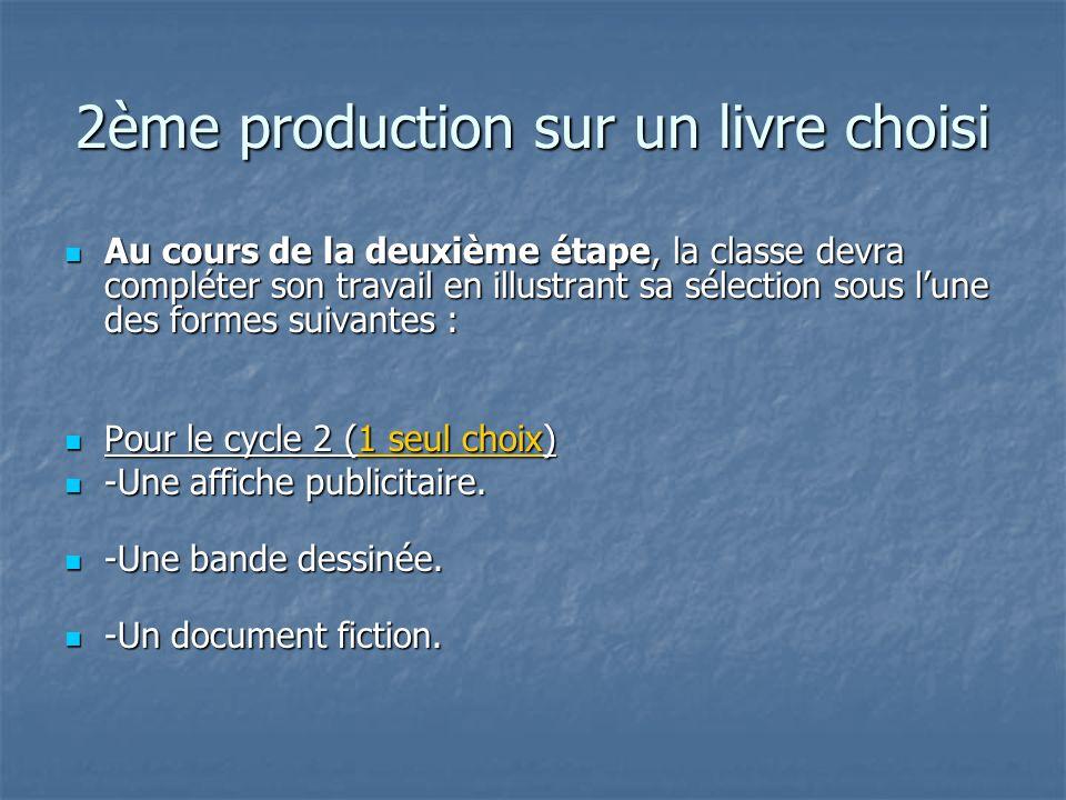2ème production sur un livre choisi Au cours de la deuxième étape, la classe devra compléter son travail en illustrant sa sélection sous lune des form
