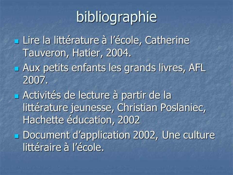 bibliographie Lire la littérature à lécole, Catherine Tauveron, Hatier, 2004. Lire la littérature à lécole, Catherine Tauveron, Hatier, 2004. Aux peti