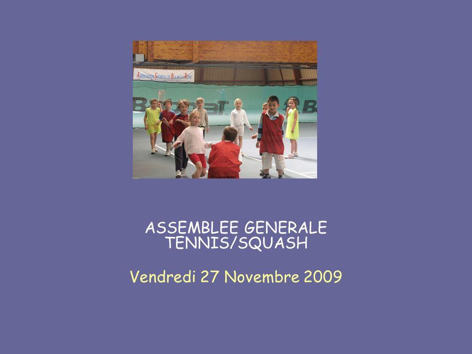ASSEMBLEE GENERALE TENNIS/SQUASH Vendredi 27 Novembre 2009