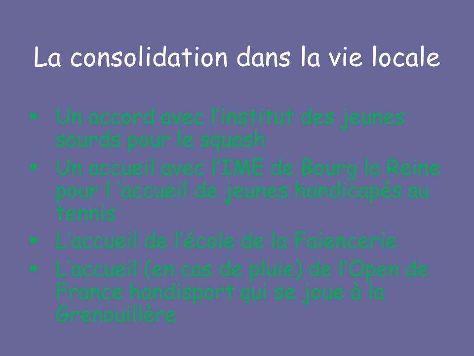La consolidation dans la vie locale Un accord avec linstitut des jeunes sourds pour le squash Un accueil avec lIME de Bourg la Reine pour l accueil de jeunes handicapés au tennis Laccueil de lécole de la Faiencerie Laccueil (en cas de pluie) de lOpen de France handisport qui se joue à la Grenouillère