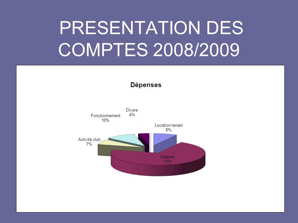 PRESENTATION DES COMPTES 2008/2009