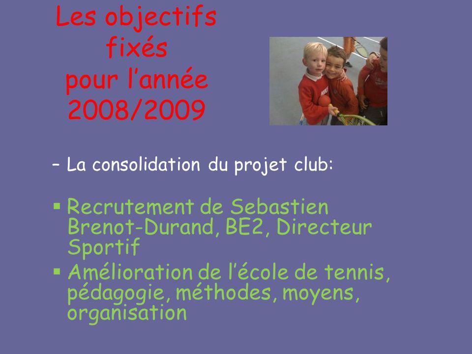 Les objectifs fixés pour lannée 2008/2009 –La consolidation du projet club: Recrutement de Sebastien Brenot-Durand, BE2, Directeur Sportif Amélioration de lécole de tennis, pédagogie, méthodes, moyens, organisation
