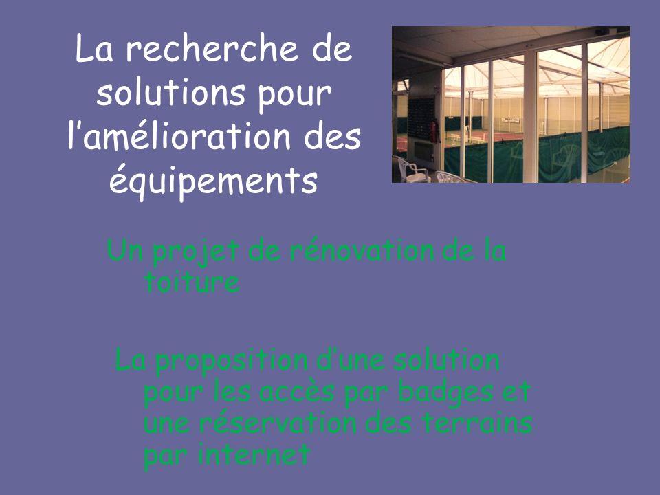 Un projet de rénovation de la toiture La proposition dune solution pour les accès par badges et une réservation des terrains par internet La recherche de solutions pour lamélioration des équipements