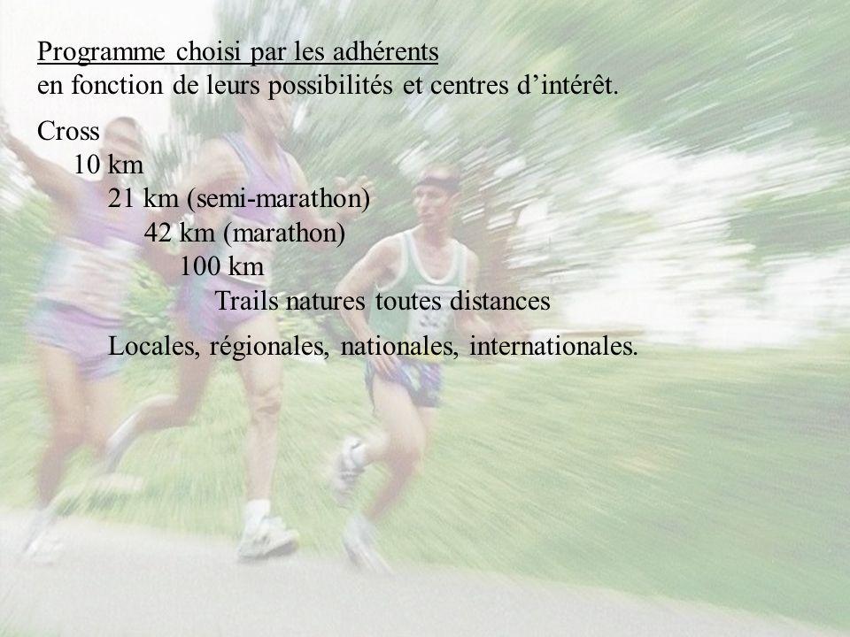 Programme choisi par les adhérents en fonction de leurs possibilités et centres dintérêt. Cross 10 km 21 km (semi-marathon) 42 km (marathon) 100 km Tr