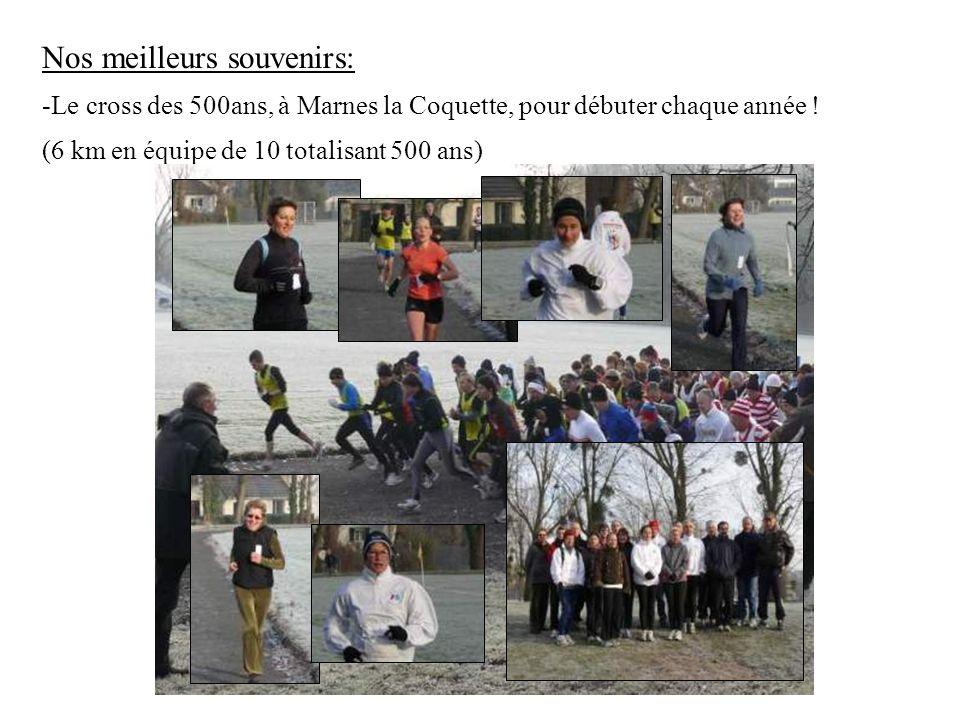 Nos meilleurs souvenirs: -Le cross des 500ans, à Marnes la Coquette, pour débuter chaque année ! (6 km en équipe de 10 totalisant 500 ans)