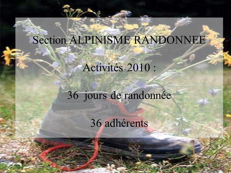Section ALPINISME RANDONNEE Activités 2010 : 36 jours de randonnée 36 adhérents