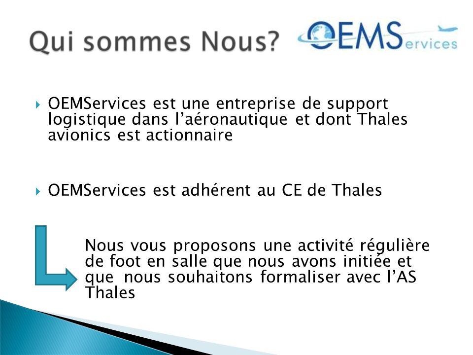 OEMServices est une entreprise de support logistique dans laéronautique et dont Thales avionics est actionnaire OEMServices est adhérent au CE de Thal