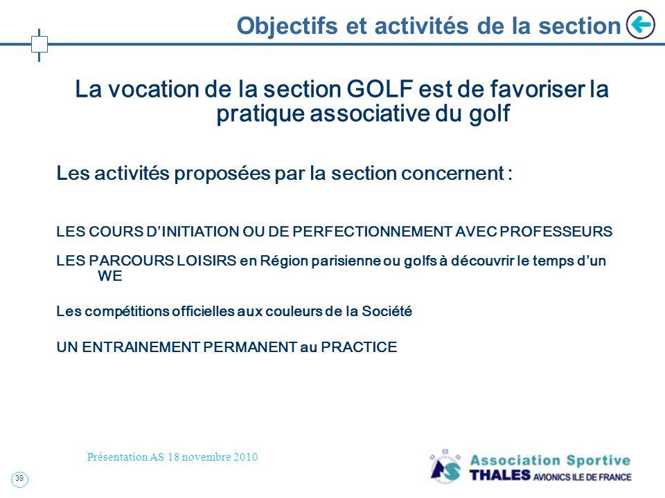 39 Présentation AS 18 novembre 2010 Objectifs et activités de la section La vocation de la section GOLF est de favoriser la pratique associative du go